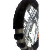 Potah na volant černý paw měkký, hřejivý 37-39 cm