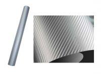 FOLIE OZDOBNÁ 3D carbon stříbrný 50X60 cm tvarovatelná samolepka