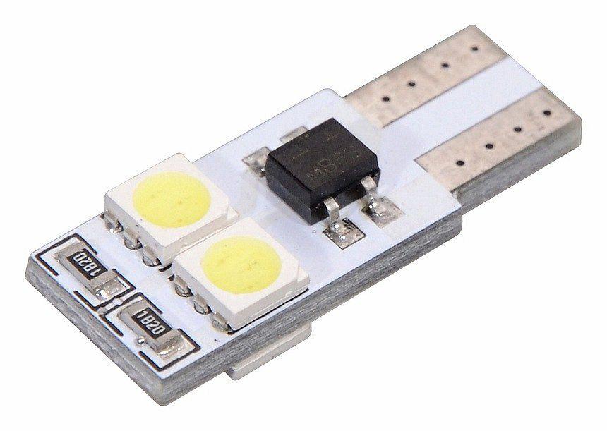Vysocesvítivé čipové SMD LED diody, žárovka 4 SMD LED 12V T10 s rezistorem CAN-BUS ready bílá Vyrobeno v EU