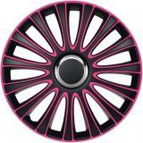 """Ozdobné kryty kolies 16"""" LE MANS PRO Pink Black, růžová 4ks"""