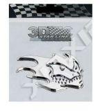 Samolepka Lebka v plamenech MASKA 3D znak 7,5 x 6 cm
