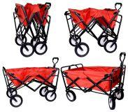 Plážový vozík skladateľná pre kempovanie TROGIR červený, nosnosť 40kg, váha 10,2 kg