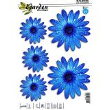 Samolepka, dekor kvety modré 5ks s UV filtrom