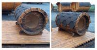 Drevená Psia búda ovál sud, dĺžka 105 cm tmavá