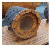 Drevená Psia búda ovál sud, dĺžka 105 cm svetlá