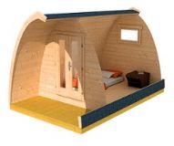 Drevený kempingový domček s terasou 4 x 2.5 m