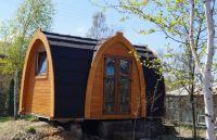 Drevený kempingový chatka s terasou 6,5m, dve miestnosti