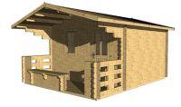 Záhradný domček s terasou Elza, 15.5 m2 drevo