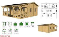 Záhradný domček s terasou Iris, 23.2+11.6m2 drevo
