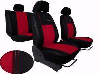 Autopotahy kožené Volkswagen Caddy III, 5 míst, 2003=>, EXCLUSIVE s alcantarou červené
