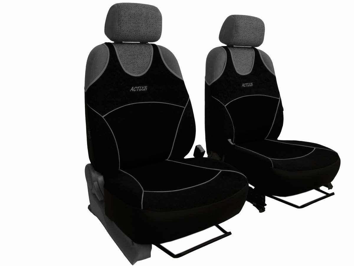 Autopotahy Active Sport Alcantara, sada pro dvě sedadla, černé Vyrobeno v EU