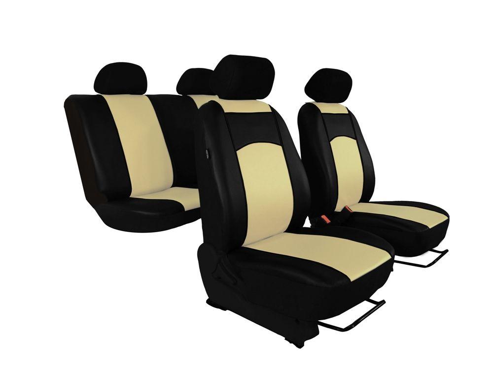 Autopotahy Škoda Fabia II, kožené Tuning černobéžové, dělené zadní sedadla Vyrobeno v EU