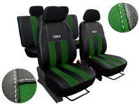 Autopotahy Škoda Fabia II, kůže s alcantarou, GT zelené Vyrobeno v EU