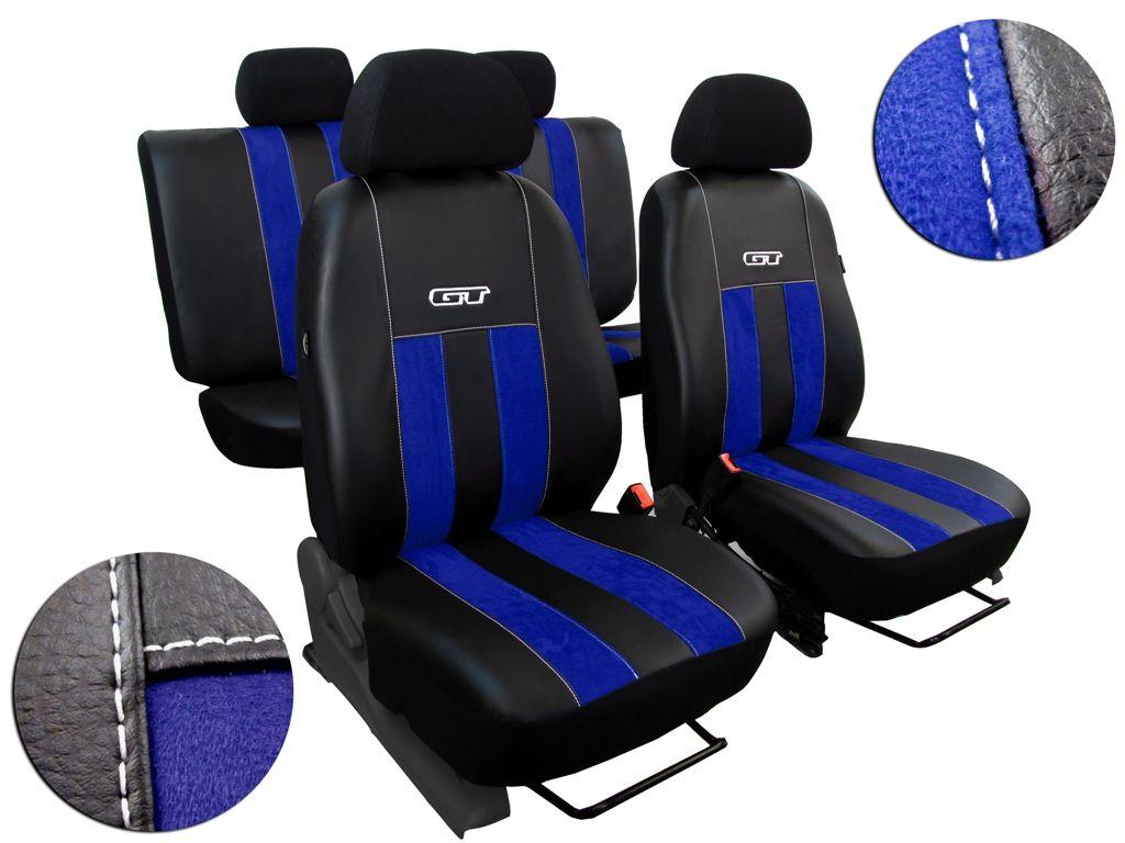 Autopotahy Škoda Rapid, kůže/alcantara GT modré, děl. zadní op, bez zadní loketní opěrky Vyrobeno v EU