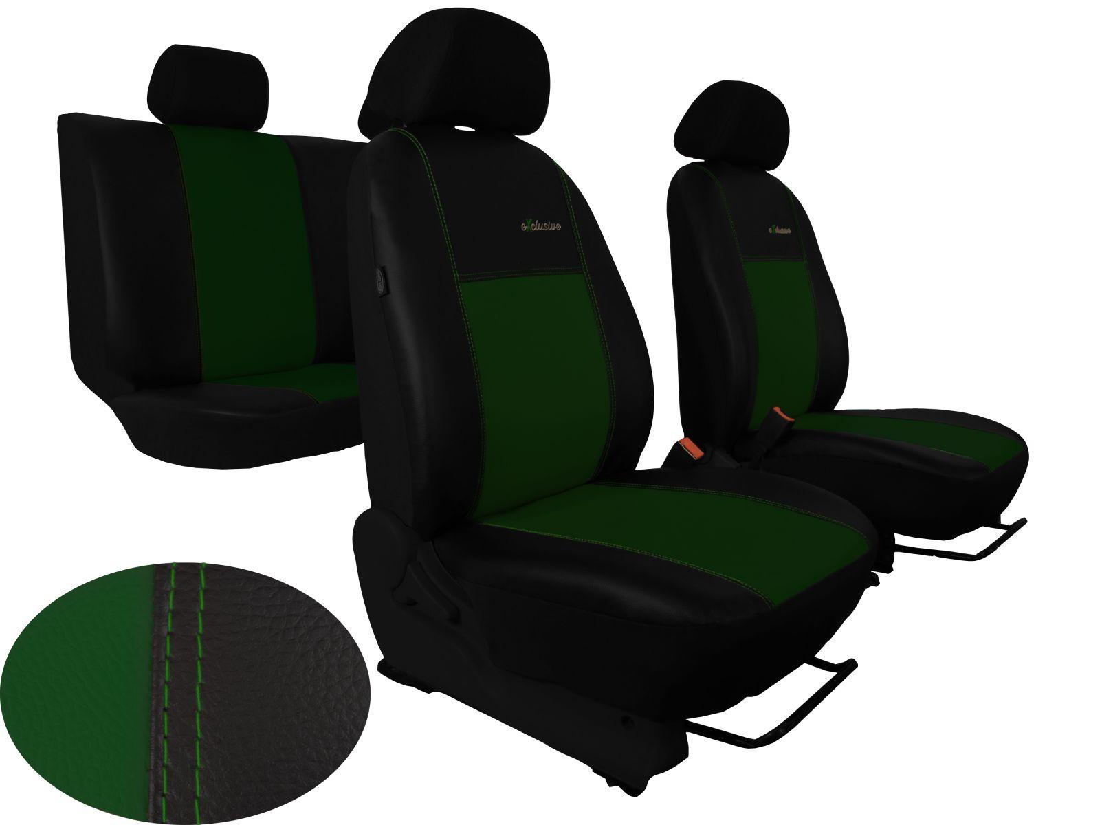 Autopotahy Škoda Octavia III, kožené EXCLUSIVE, bez zadní loketní opěrky, zelené Vyrobeno v EU