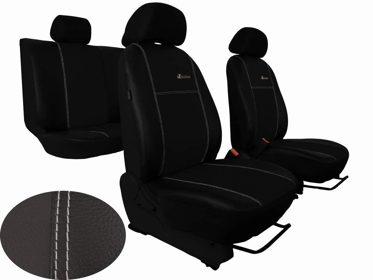 Autopotahy Škoda Octavia III, kožené EXCLUSIVE černé, se zadní loketní opěrkou Vyrobeno v EU
