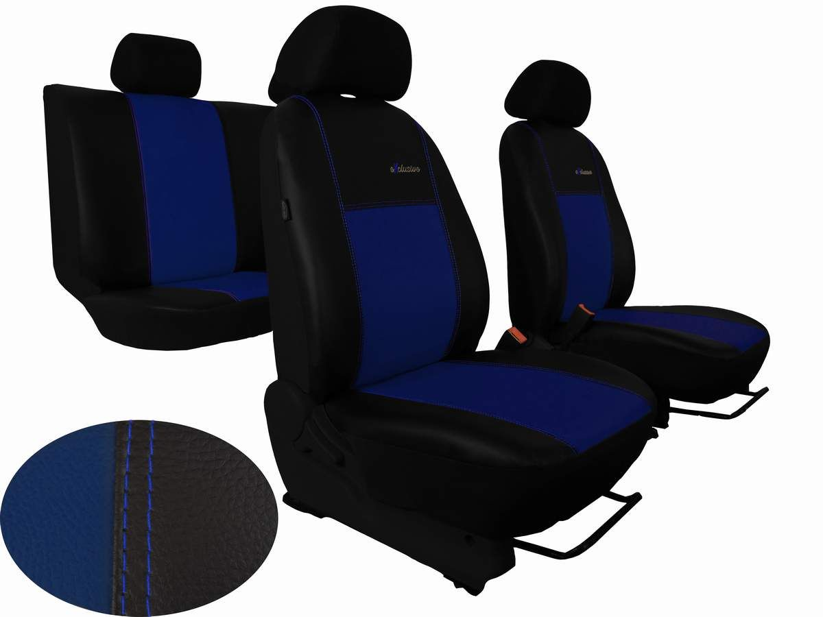 Autopotahy Škoda Octavia III, kožené EXCLUSIVE modré, se zadní loketní opěrkou Vyrobeno v EU