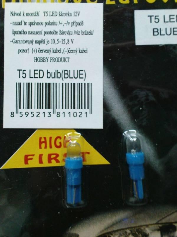 Sada Let žárovek do palubní desky T5 12V, 2ks modrá