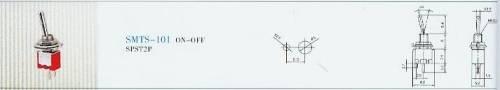 Páčkový vypínač kovový, 6 - 250V, 8 x 5,2mm Vyrobeno v EU