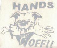 Samolepka pes Ruce pryč, Hands off