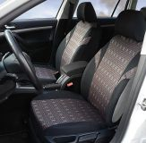 Autopotahy JACK I tmavé s obdélniky Univerzální na auto s atestem na airbag, zipem dělená lavice Compass