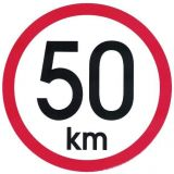 Samolepka 50 km/h na auto, na vozík velká