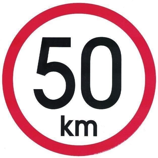 Samolepka omezení rychlosti 50km, prům 15cm AVISA