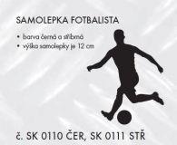SAMOLEPÍCÍ DEKOR sport Fotbalista 12cm černá, stříbrná