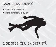 SAMOLEPÍCÍ DEKOR sport Potápěč 12cm černá, stříbrná