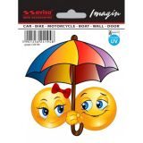 Samolepka Smajlík On a Ona slniečka pod dáždnikom 45 x 45 mm, UV filter