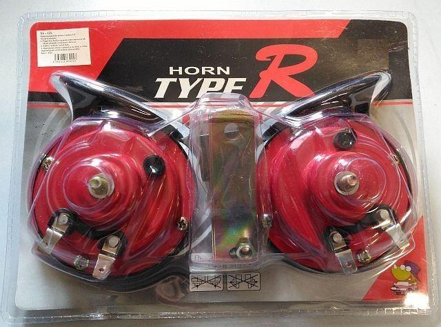 Fanfáry elektromagnetické v blistru celé s relé 24V, černá+červená, balení 2ks Vyrobeno v EU
