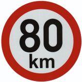 Reflexná samolepka 80km obmedzenia rýchlosti priem. 20 cm