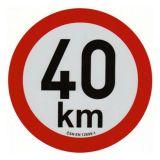 Reflexná samolepka 40km obmedzenia rýchlosti priem. 20 cm