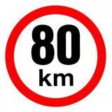 Samolepka 80km/h na auto, na vozík velká 150 mm