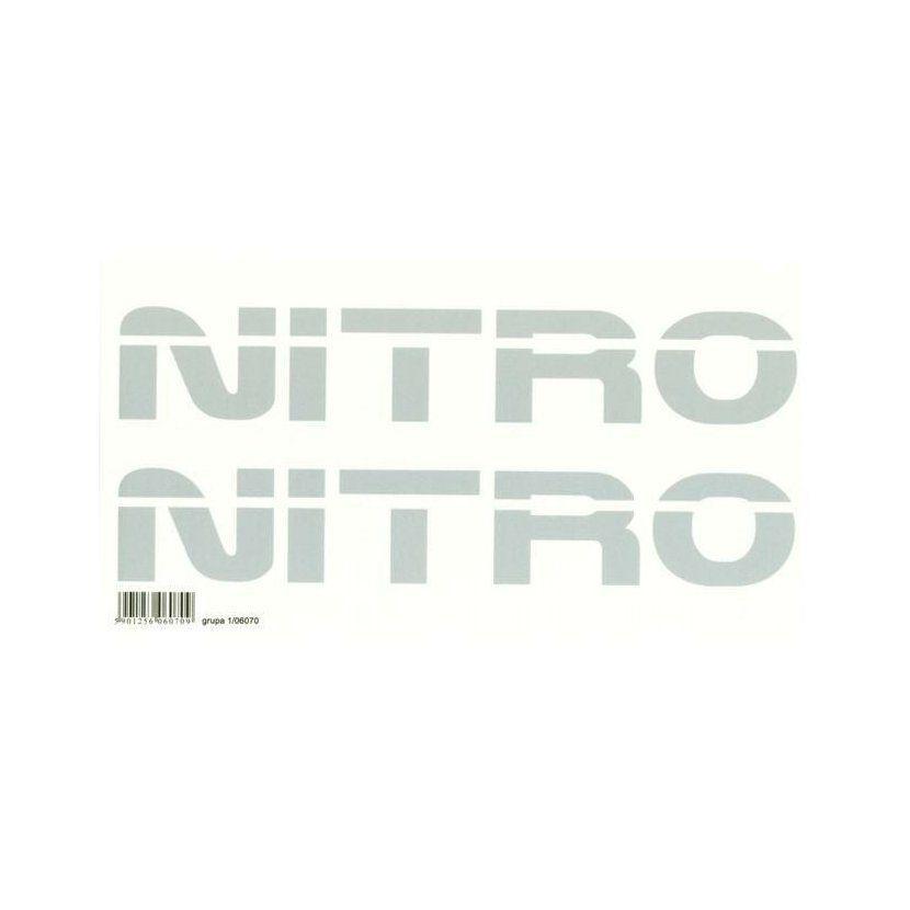 Samolepící dekor na auto napis Nitro stříbrný, sada 2ks, 6 x 30 cm AVISA