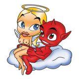 SAMOLEPÍCÍ DEKORY anděl s ďáblem na mráčku