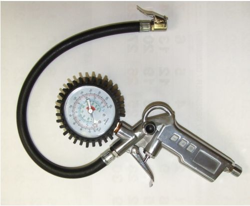 Tlaková Vzduchová pistole s manometrem pro kontrolu tlaku, 0-15 bar Vyrobeno v EU