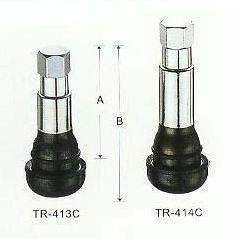 Úplný ventil pro bezdušová kola CHROM iz