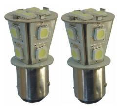 LED žárovka dvou vláknová bílá BAY15d, 12 SMD LED 12V, 2ks tuning
