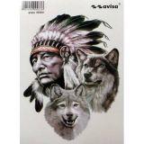 SAMOLEPÍCÍ DEKORY Indian s vlky 35 x 50 cm