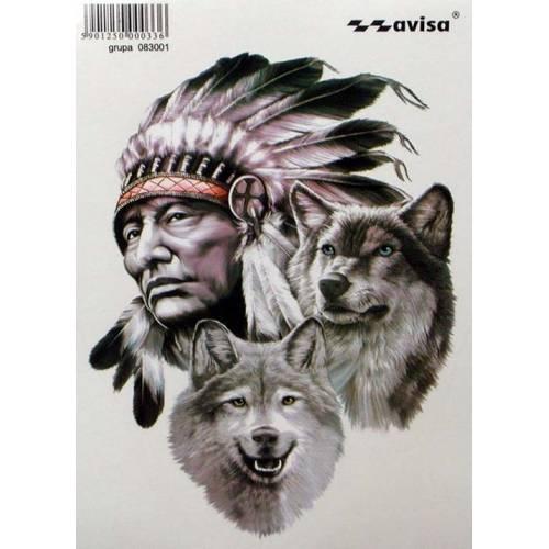 Samolepka na auto Indian s vlky 35 x 50 cm AVISA